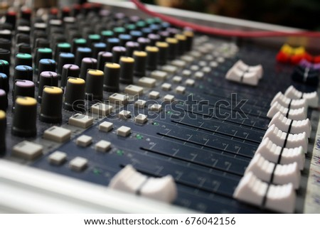 The audio equipment, control panel of digital studio mixer, concert  #676042156