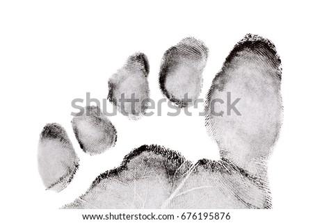Foot finger print on white background #676195876