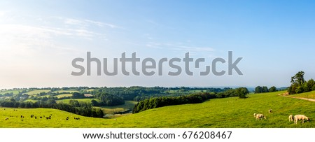 Panoramic Picture of the South Somerset Countryside UK Royalty-Free Stock Photo #676208467