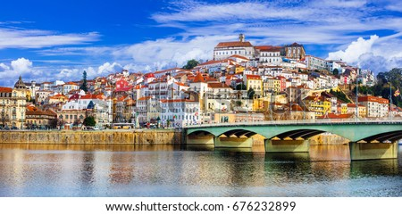 landmarks of Portugal - beautiful Coimbra town #676232899