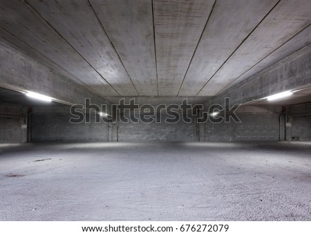 Industrial Shed or Parking Lot. Urban, Rough Under-construction Background. Empty Warehouse Interior. #676272079