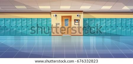 Empty School Corridor Interior With Row Of Lockers Horizontal Banner Flat Vector Illustration