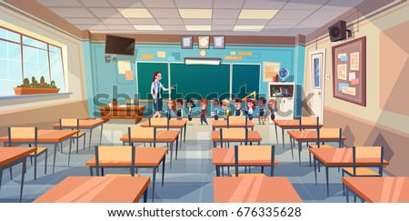 School Children Group With Teacher In Classroom Over Green Board Flat Vector Illustration