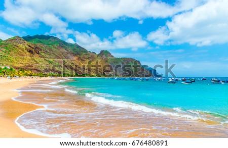 Las teresitas beach, Tenerife, Canary Islands, Spain. Royalty-Free Stock Photo #676480891