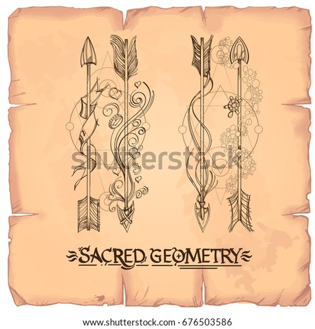 Arrows and flowers. A set of elements in the style of Boho. Contour illustrations for the creation of tattoos, coloring, clothing design and printed products. #676503586