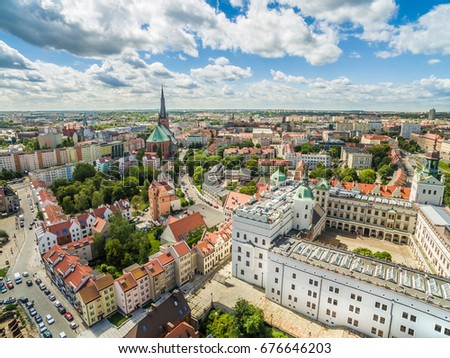 Szczecin - The landscape of the old town from the bird's eye view. Old town, castle and basilica in Szczecin. Royalty-Free Stock Photo #676646203