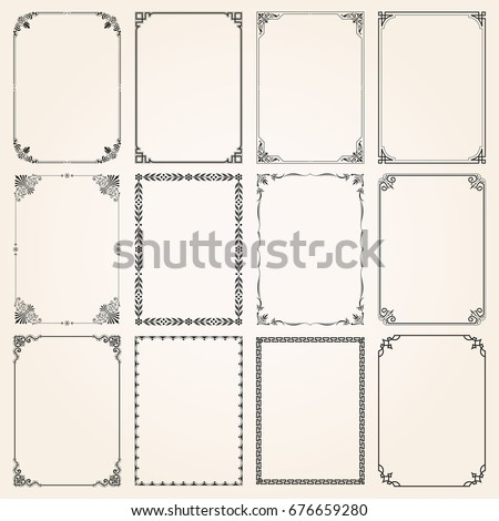 Decorative vintage frames borders backgrounds rectangle proportions set 5 vector Royalty-Free Stock Photo #676659280