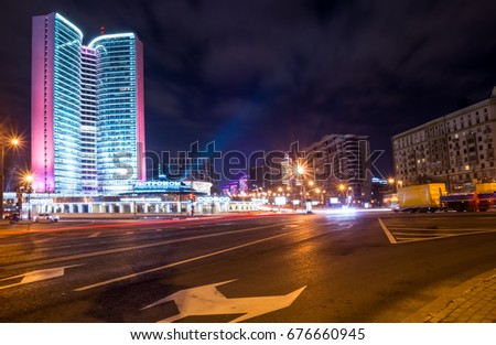 Russia, Moscow, October 2014 - The building of the former CMEA on the New Arbat at night #676660945