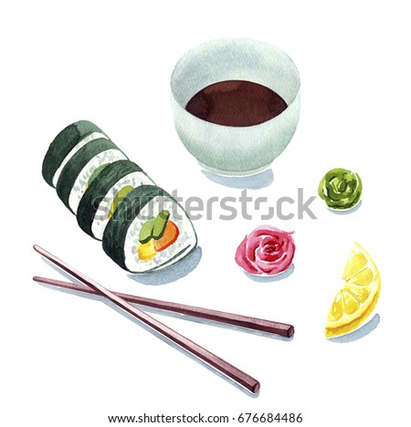 watercolor sushi clip art, sushi serving illustration for menu, sushi bar or delivery design, isolated painting