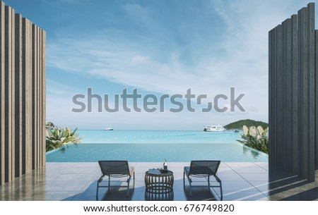 Balcony private pool with bamboo wall, sea view at sunlight  - 3d rendering #676749820