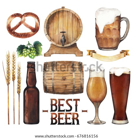 Watercolor glasses of beer, bottle, pretzels, hops, malts and ribbon. Hand painted oktoberfest design elements isolated on white background
