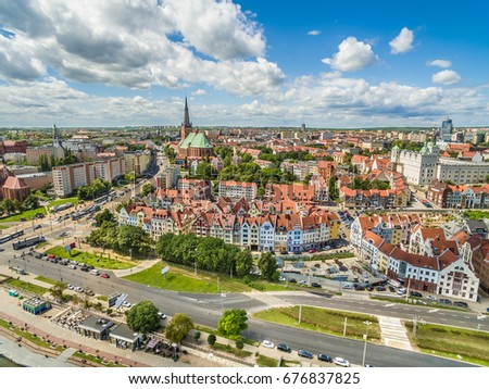 Szczecin - the landscape of the old town as seen from the air. Panorama of the city from the cathedral basilica. #676837825
