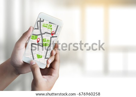 GPS Map to Route Destination network connection Location Street Map with GPS Icons  Navigation Royalty-Free Stock Photo #676960258