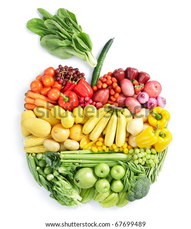 various vegetables and fruits in apple shape #67699489