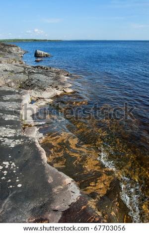 Stony bank of the Ladoga lake #67703056