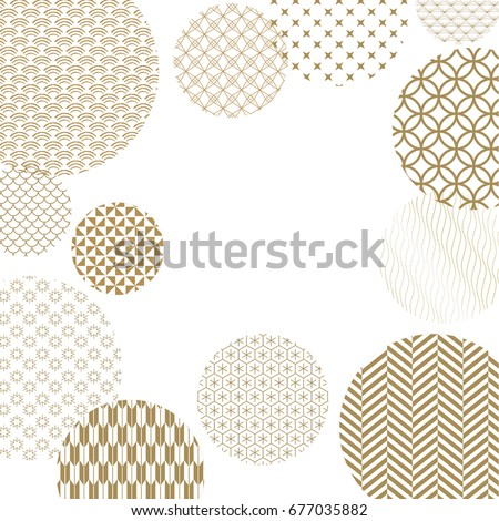 Japanese pattern background vector. Gold geometric cover design , poster, card, template and layout design.