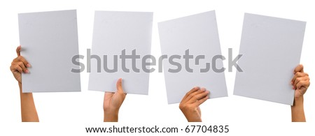 various blank cardboard with hands isolated on white #67704835