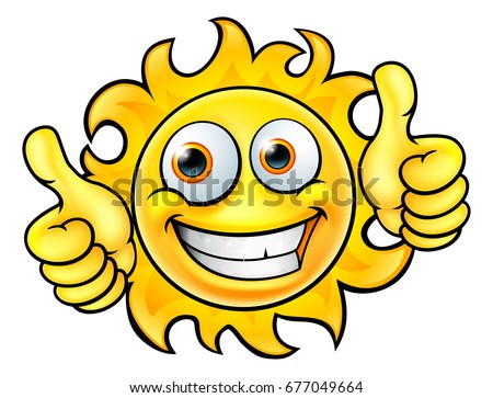 A sun cartoon character mascot smiling and giving a thumbs up