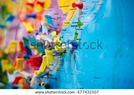 Pins cover many popular locations in asia #677432107