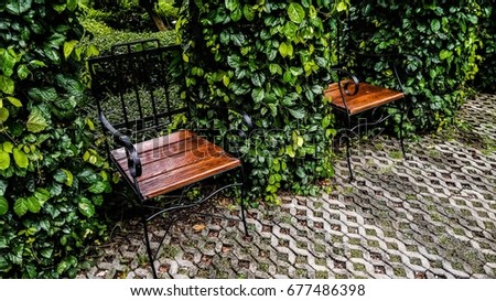 bench chair in green garden for relaxation  #677486398