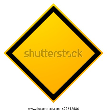Square empty warning sign isolated on white #677612686