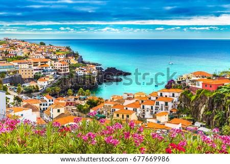 Panoramic view over Camara de Lobos, Madeira island, Portugal #677669986