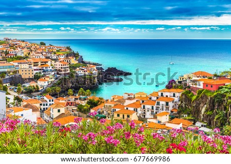 Panoramic view over Camara de Lobos, Madeira island, Portugal Royalty-Free Stock Photo #677669986