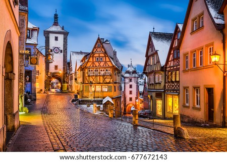 Medieval town of Rothenburg ob der Tauber at night, Germany #677672143