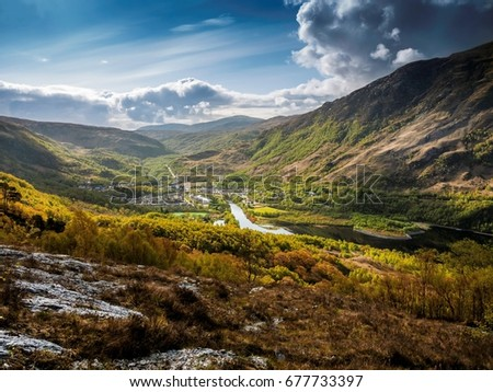 Kinlochleven, seen from the West Highland Way long distance footpath, as it climbs the hillside high above the town. #677733397
