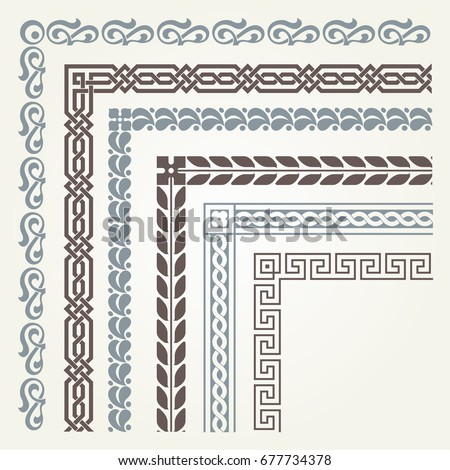 Set of decorative seamless ornamental border with corner Royalty-Free Stock Photo #677734378