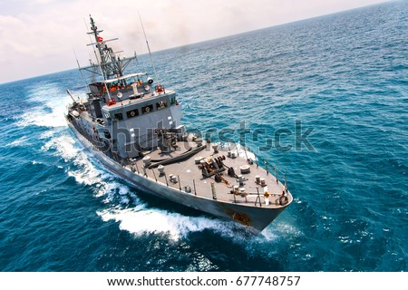 Military navy ships in a sea bay view from helicopter #677748757