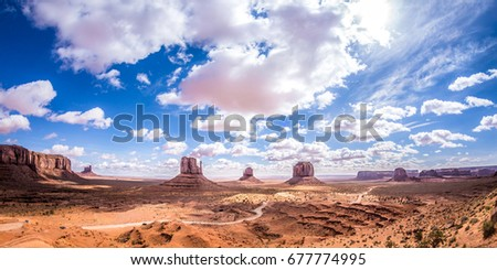Overlook of the Monument Valley at noon with HDR effect, Utah, USA. #677774995