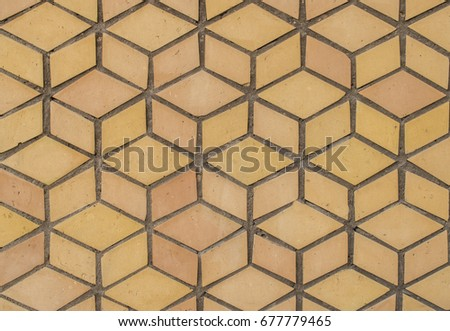 Brown mosaic tiles like ancient tiles.Ancient patterns are used for both indoor and outdoor walls. #677779465