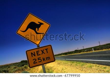 Kangaroo Sign in South Australia Royalty-Free Stock Photo #67799950