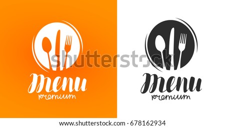 Cooking, cuisine logo. Icon and label for design menu restaurant or cafe. Lettering, calligraphy vector illustration Royalty-Free Stock Photo #678162934