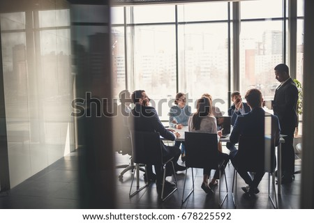 Business people working in conference room Royalty-Free Stock Photo #678225592