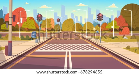 Road Empty City Street With Crosswalk And Traffic Lights Flat Vector Illustration Royalty-Free Stock Photo #678294655