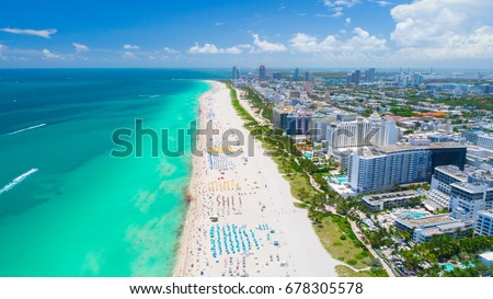 Aerial view of Miami Beach, South Beach, Florida, USA.  #678305578