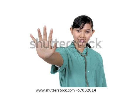 A Doctor wearing scrub say stop isolated over white background #67832014