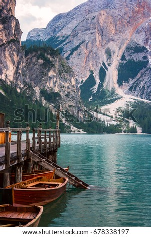 The Boathouse at Lake Braies in Dolomites mountains, Italy #678338197