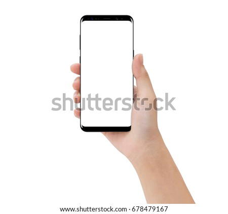 close-up hand touching phone isolated on white, mock-up smartphone blank screen easy adjustment with clipping path Royalty-Free Stock Photo #678479167