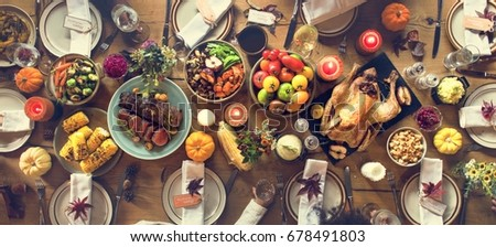 Thanksgiving Celebration Traditional Dinner Setting Food Concept #678491803