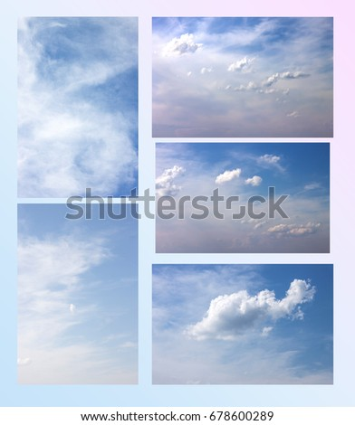 collage of several photos of the sky. Clouds float on a light blue sky. #678600289
