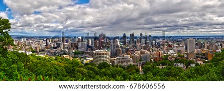 Canada, Montreal, Skyline, Skyscrapers, Panorama city. July 2nd, 2016. Panorama view of the city from park Du Mont Royal, the bird's eye view. #678606556