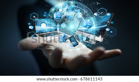 Tech devices connected to each other by businessman on blurred background 3D rendering Royalty-Free Stock Photo #678611143