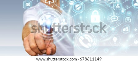 Businessman on blurred background protecting his data personal information 3D rendering #678611149
