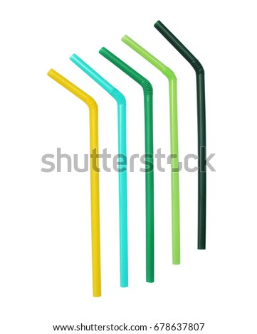 Colorful drinking straws isolated on white background #678637807