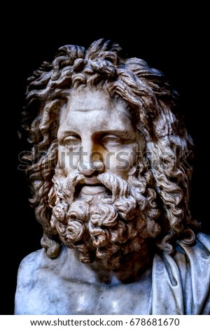 The ancient marble portrait bust of Zeus Otricoli
