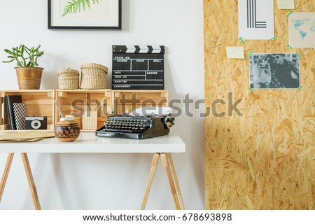 Hygge interior design with wooden desk for eco hipster #678693898