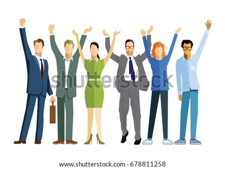 Team of businessmen celebrating a victory, business success, 3D illustration #678811258